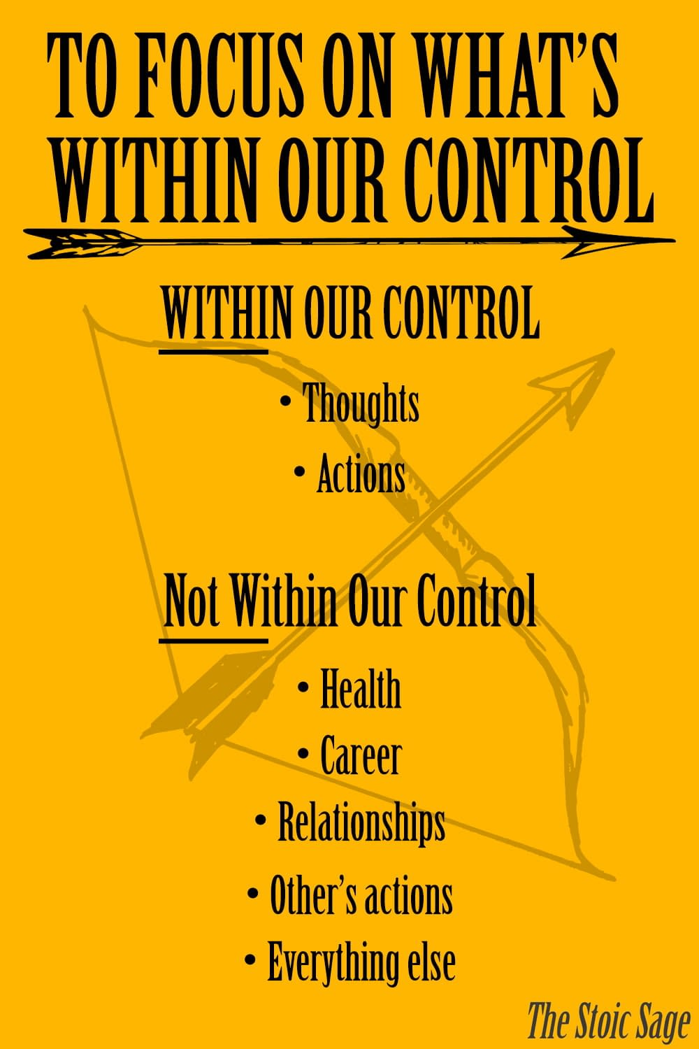 Stoic indifference, focus on what's within your control