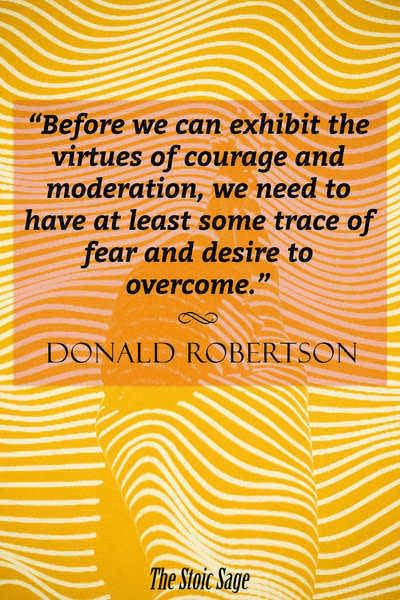 """""""Before we can exhibit the virtues of courage and moderation, we need to have at least some trace of fear and desire to overcome."""" - Donald Robertson"""
