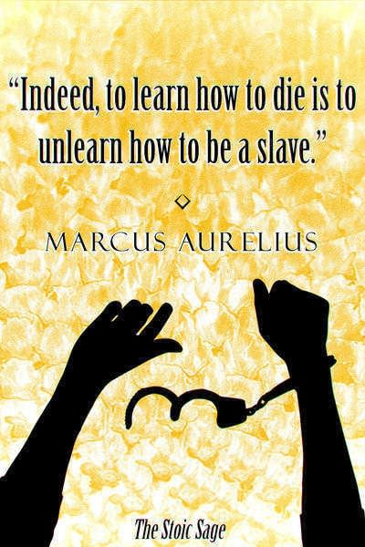 """""""Indeed, to learn how to die is to unlearn how to be a slave."""" - Marcus Aurelius"""